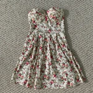 Floral strapless bustier dress